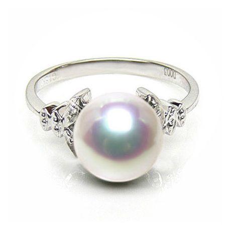 Anello oro bianco, diamanti - Perla Akoya bianca, rosa - 8.5/9mm