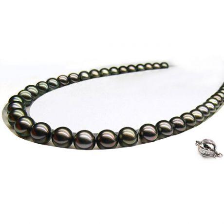 Collana perle di Tahiti nere, pavone, bronzo, verde - 10/12mm - AAA