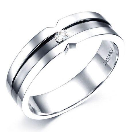 Anello Uomo - Oro bianco 6.90gr - Diamante 0.055ct