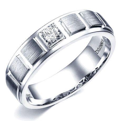 Anello Uomo - Oro bianco 7.05gr - Diamante 0.088ct