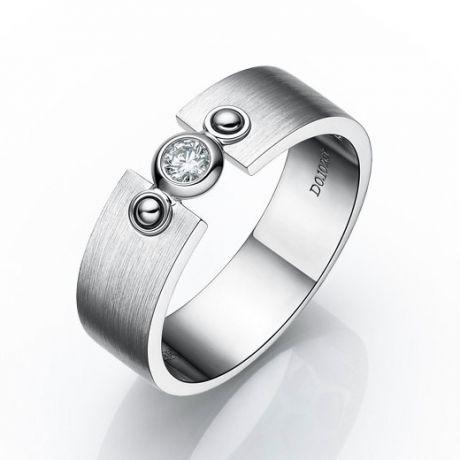 Anello Uomo - Oro bianco 6.76gr - Diamante 0.102ct