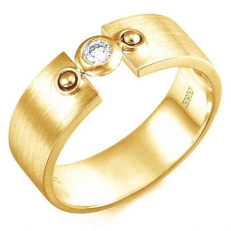 Anello Uomo - Oro giallo 6.76gr - Diamante 0.102ct