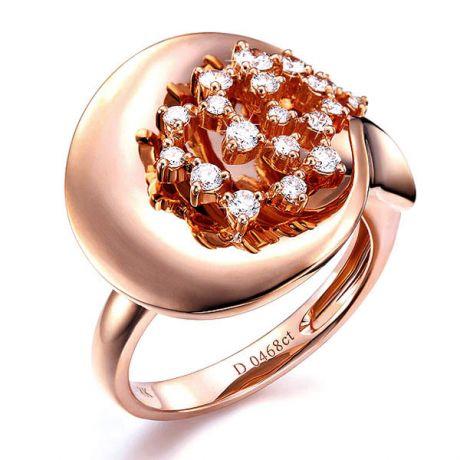 Anello Donna - Oro rosa 8.10gr - Diamanti 0.468ct