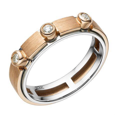 Anello Uomo - Oro bianco, rosa 5.90gr - Diamanti 0.130ct