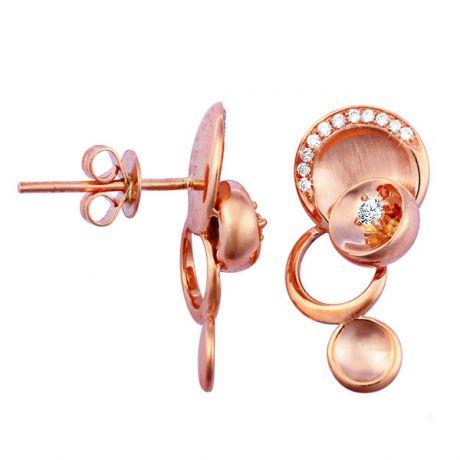 Orecchini - Oro rosa 3.75gr - Diamanti 0.150ct