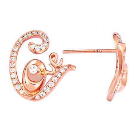 Orecchini - Oro rosa 2.70gr - Diamanti 0.350ct