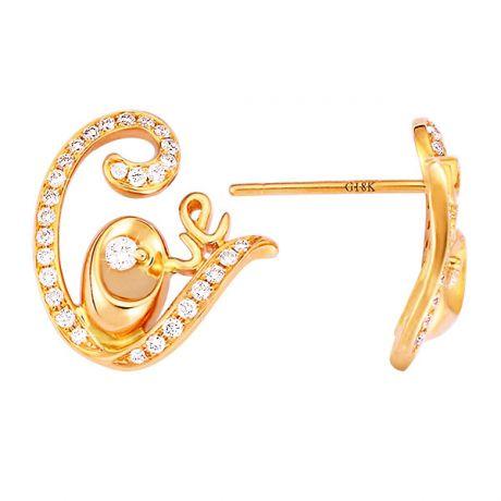 Orecchini - Oro giallo 2.70gr - Diamanti 0.350ct