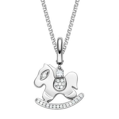 Ciondolo - Oro bianco 2.44gr - Diamanti 0.145ct