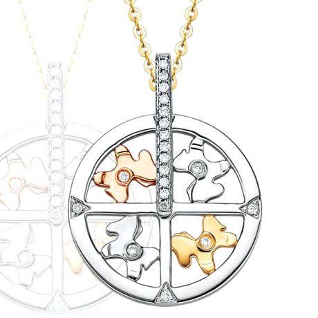 Ciondolo - Tre ori 3.75gr - Diamanti 0.080ct