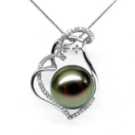 Ciondolo oro bianco - Perla di Tahiti nera, pavone - 12/13mm