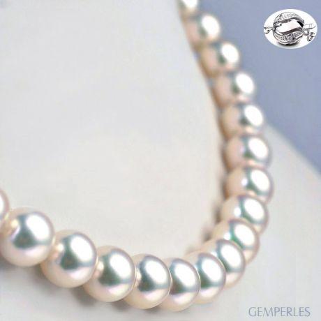 Collana di perle Akoya giapponesi bianche - 9/9.5mm, AAA
