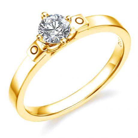 Anello solitario - Oro giallo 2.94gr - Diamante 0.350ct