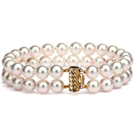 Braccialetto due fili perle - Akoya bianche giapponesi - 6.5/7mm