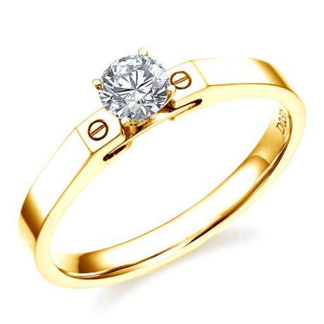 Anello solitario - Oro giallo 2.87gr - Diamante 0.315ct