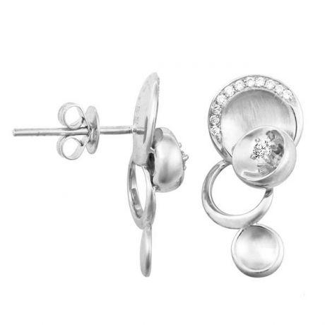 Orecchini - Oro bianco 3.75gr - Diamanti 0.150ct