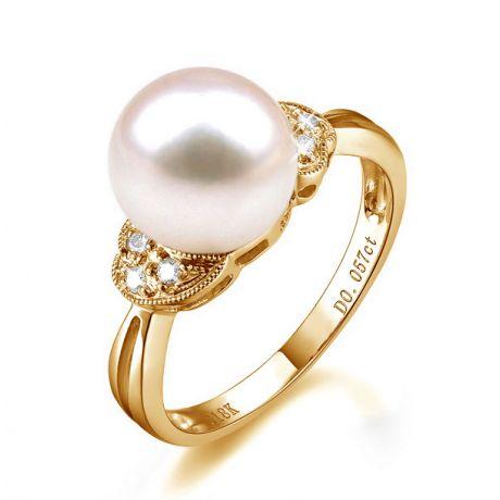 Anello classico oro giallo - Perla d'acqua dolce bianca - 8/9mm