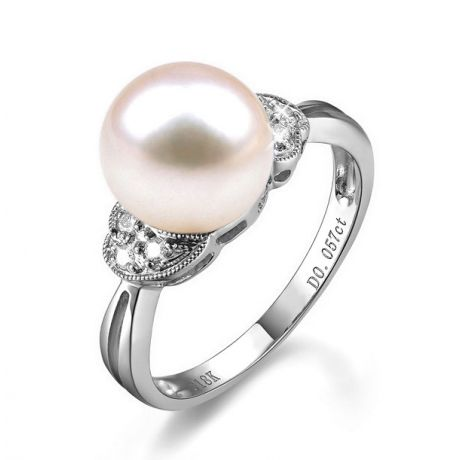 Anello classico oro bianco - Perla d'acqua dolce bianca - 8/9mm