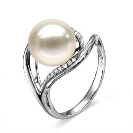 Anello moderno oro bianco - Perla acqua dolce bianca - 10/11mm