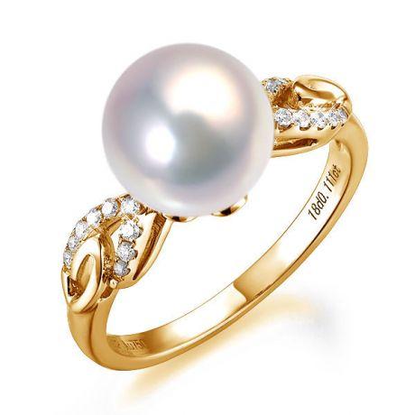 Anello oro giallo diamantato - Perla acqua dolce bianca - 9/10mm