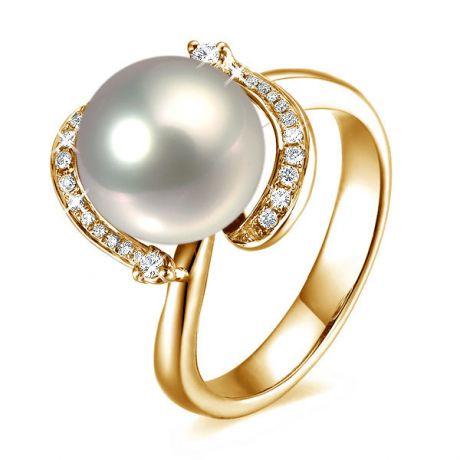 Anello moderno oro giallo - perla acqua dolce bianca - 9/10mm