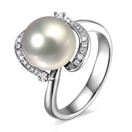 Anello moderno oro bianco - perla acqua dolce bianca - 9/10mm