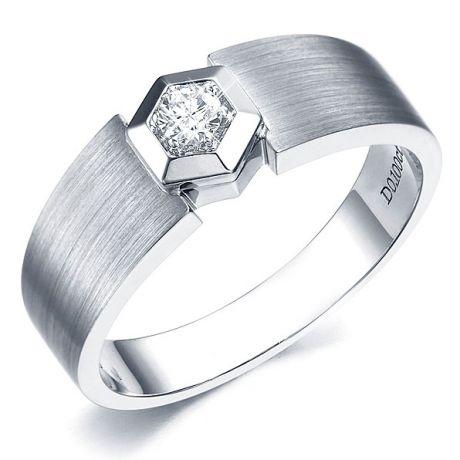 Anello Uomo - Oro bianco - Diamante 0.105ct