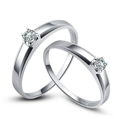 Alliances Couple. Or blanc. Diamants 0.080ct