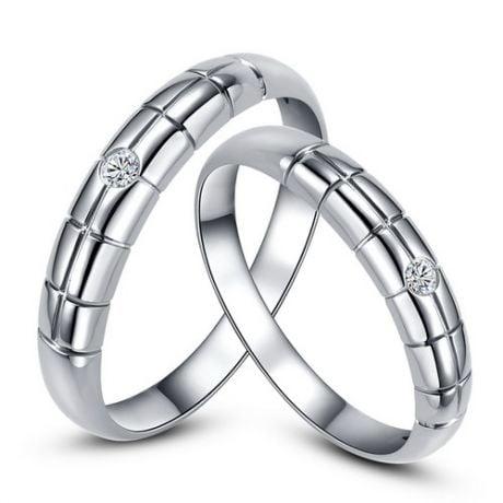 Fedi matrimonio, Fedine -  Oro bianco 3.67gr, Diamanti 0.048ct
