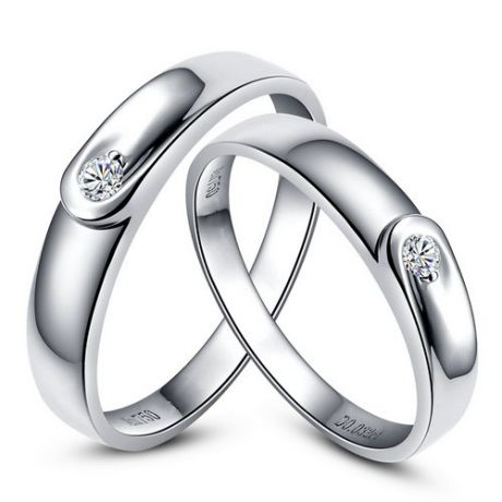 Fedi matrimonio, Fedine -  Oro bianco 4.85gr, Diamanti 0.088ct
