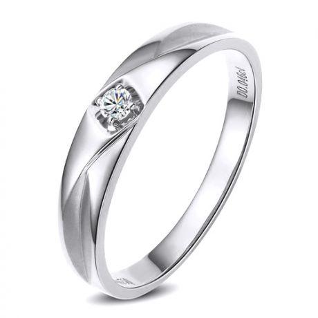 Fede Uomo - Oro bianco 3.14gr - Diamante 0.046ct
