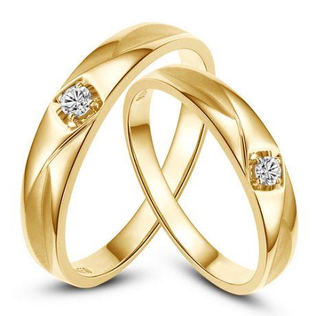 Fedi matrimonio, Fedine -  Oro giallo 5.38gr, Diamanti 0.083ct