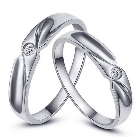 Fedi matrimonio, Fedine -  Oro bianco 5.9gr, Diamanti 0.048ct