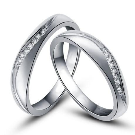 Fedi matrimonio, Fedine -  Oro bianco 5.70gr, Diamanti 0.079ct
