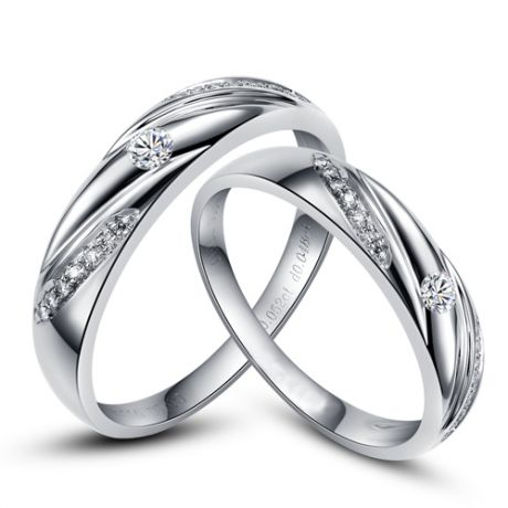 Fedi matrimonio, Fedine -  Oro bianco 5.15gr, Diamanti 0.206ct