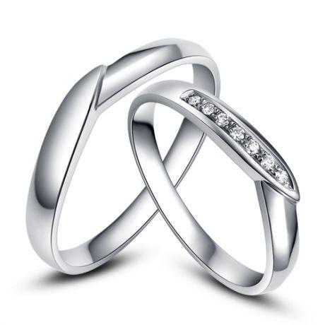 Fedi matrimonio, Fedine -  Oro bianco 5.90gr, Diamanti 0.058ct