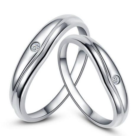 Fedi matrimonio, Fedine -  Oro bianco 5.83gr, Diamanti 0.037ct