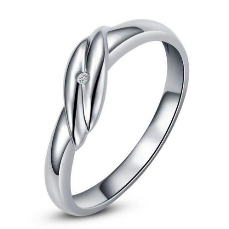 Fede Donna - Oro bianco 1.74gr - Diamante 0.004ct