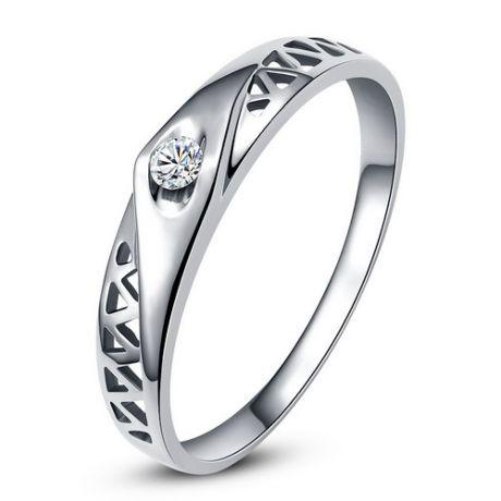 Fede Donna - Oro bianco 1.95gr - Diamante 0.045ct