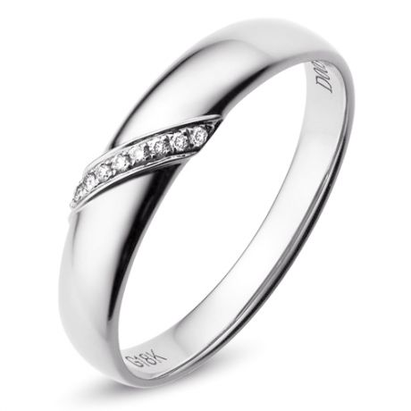 Fede Uomo - Oro bianco 3.50gr - Fascia Diamanti 0.030ct