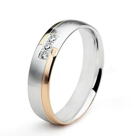 Fede Donna - Oro bianco, giallo e rosa - Diamanti