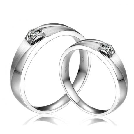Fedi matrimonio, Fedine -  Oro bianco 5.80gr, Diamanti 0.097ct