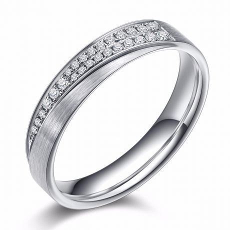 Fede matrimoniale donna Segno d'amore. Oro bianco, diamanti