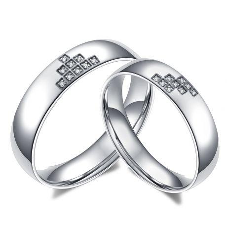 Fedi matrimoniali coppia Tetris. Oro bianco e diamanti