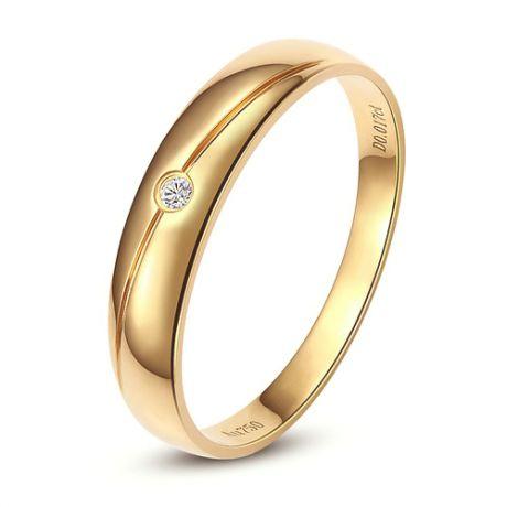 Fede donna. Oro giallo 18ct. Diamante 0.015ct