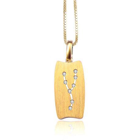 Ciondolo astrologico - Costellazione del toro - Oro giallo, diamanti