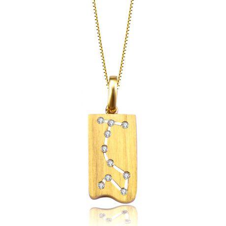 Ciondolo astrologico - Costellazione dello scorpione - Oro giallo, diamanti