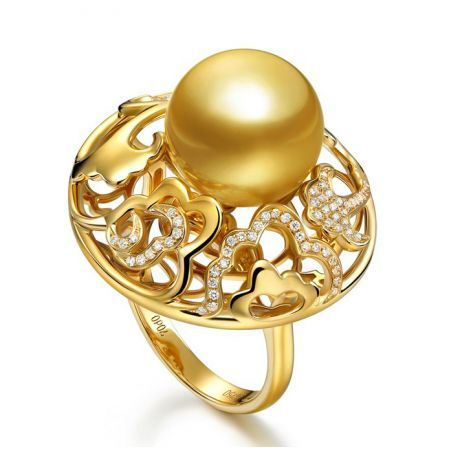 Anello fiore di peonia - Oro giallo e perla dei Mari del Sud
