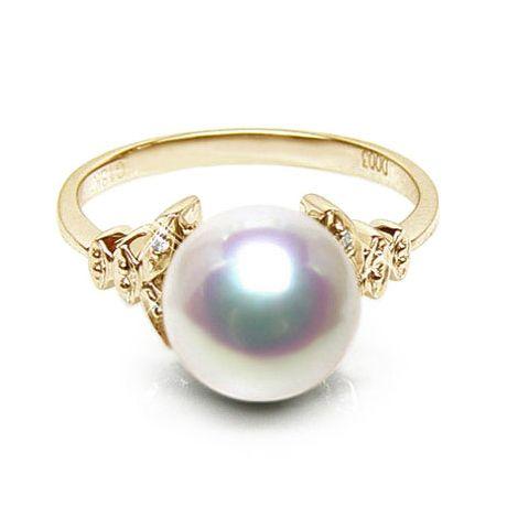 Anello oro giallo, diamanti - Perla Akoya bianca, rosa - 8.5/9mm