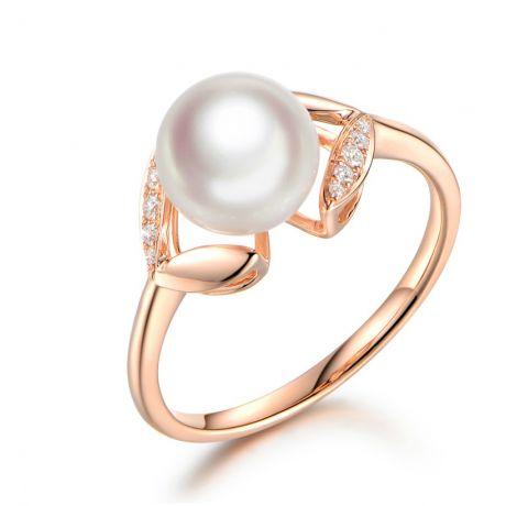 Anello Petali Oro rosa, Diamanti e perla Akoya Giappone