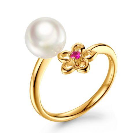 Anello Fiore in oro giallo, perla Akoya e Zaffiro rosa